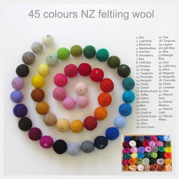 Corriedale Wool Roving 45 colours 50-100gms