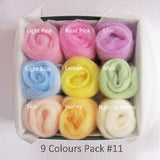 9 Colours Wool Roving Pack - Spring Colour