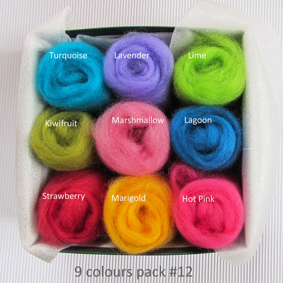 9 Colours Wool Roving Pack - Summer Garden