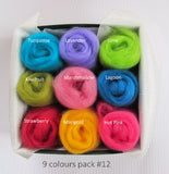 NZ wool roving Mixed colours pack for felting, weaving & spinning