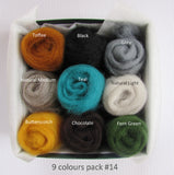 NZ wool roving Mixed colours pack for felting, woodland colour