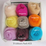 9 Colours Wool Rovings Pack - Vintage