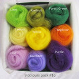 9 Colours Wool Roving Pack - Woodland Colour