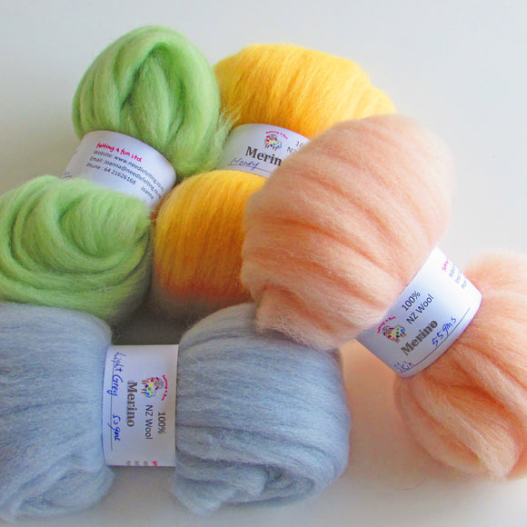 Merino Wool Sliver - 44 Colours Felting Wool from $3.00
