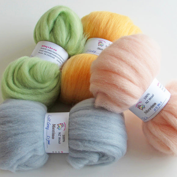 Merino Wool Sliver - Multi Colours Pack Felting Wool from $6