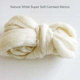 Merino Wool Sliver -  Super Soft (Natural White )