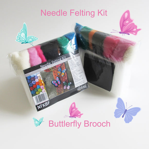 Needle Felting DIY Kit - Butterfly Brooch