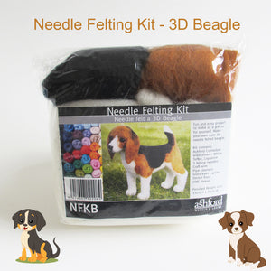 Needle Felting DIY Kit - 3D Dog (Beagle)
