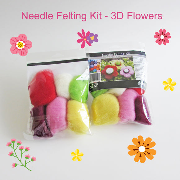Needle Felting Beginner DIY Kit - 3D Flowers