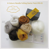 Needle Felting Starter Kit  - 6 Colours (A easy start for beginner)