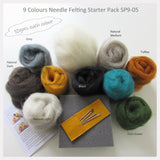 Needle Felting Starter Pack - 9 Colours wool roving pack (5choices)