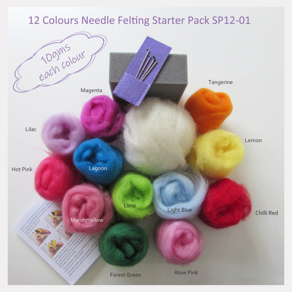 Needle Felting Starter Pack - 12 Colours pack (A popular choice for beginner)