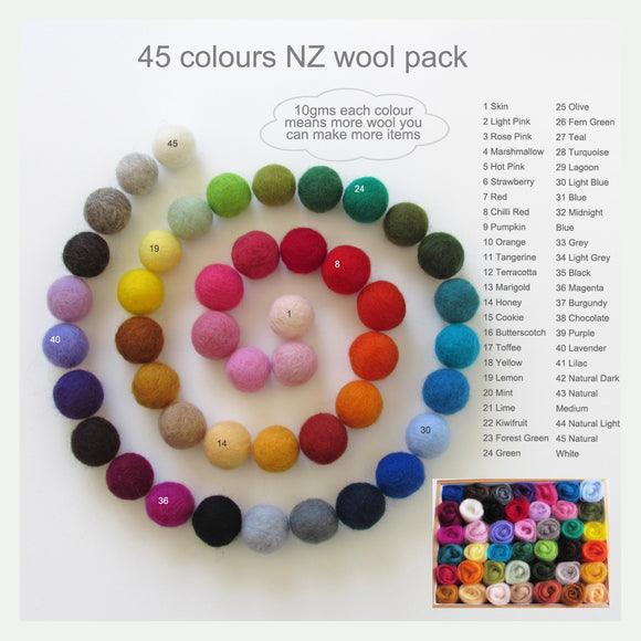 45 Colours Wool Roving Pack - Suitable for Needle Felting & Wet Felting
