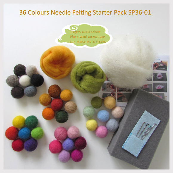 Needle Felting Starter Pack - 36 Colours Pack ( You can make a lot of items with it)