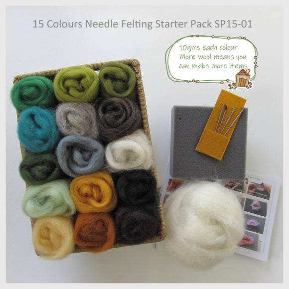 Needle Felting Starter Pack - 15 Colours pack (the best choice to start needle felting )