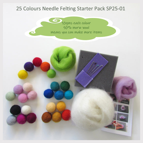 Needle Felting Starter Pack - 25 Colours pack ( A great choice for who loves many colours)