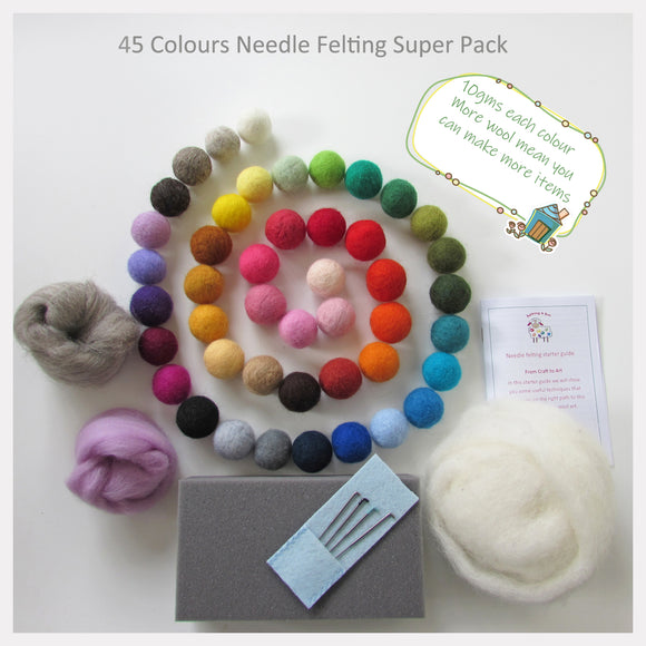 Needle Felting Starter Pack - 45 Colours Super Pack - NZ Wool