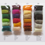 6 Colours NZ Wool Roving Pack - 12 different combinations to choose