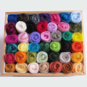 42 Colour Felting Wool Roving Pack