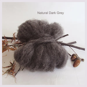 100 grams Natural Colour Wool Roving - Dark Grey