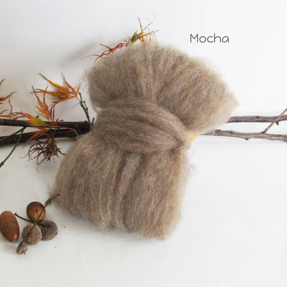 100gms Natural Colour Wool Roving - Mocha