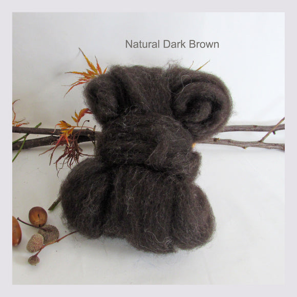 100gms Natural Colour Wool Roving - Natural Dark Brown