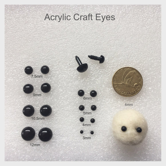 Needle Felting Craft eyes - Round Acrylic Black Eyes