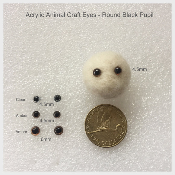 Needle Felting Craft Eyes - Acrylic Eyes With Round Pupil