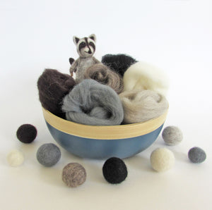 natural colour NZ wool roving, felting , felted animal, needle felting, weaving