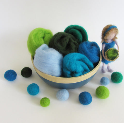 Wool Roving Mini Pack For Felting - 6 colours pack