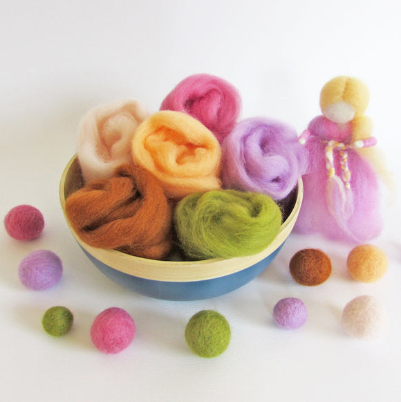 NZ wool roving, needle felting, baby mobile, weaving, Corriedale wool, felted ball garland