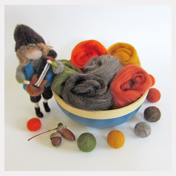 NZ felting wool pack - 6 colours (Autumn)