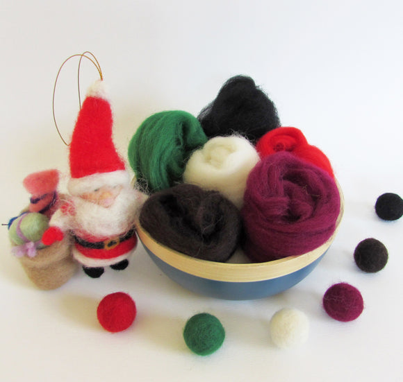 NZ Wool Roving Pack For Felting - X'mas colours