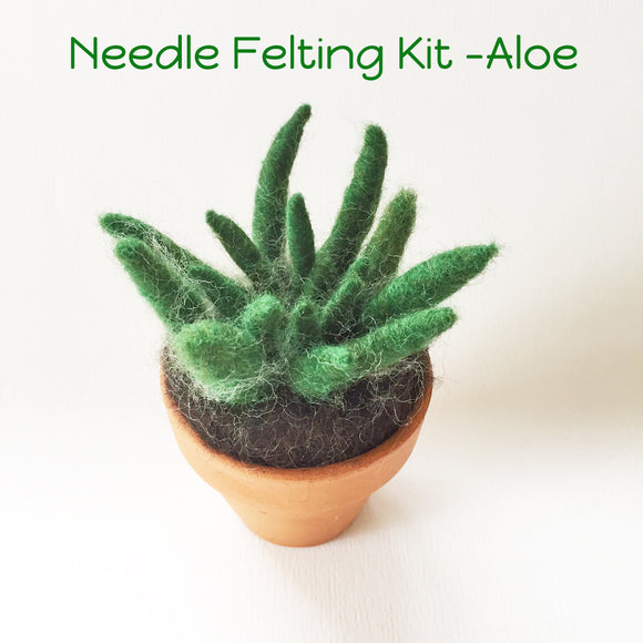 Needle felting Aloe plant