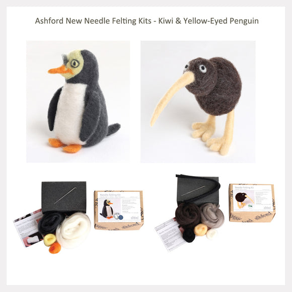 Needle Felting Beginner DIY Kit - Kiwi & Penguin