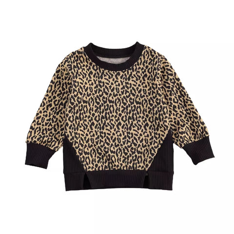 Ribbed Leopard Pull Over
