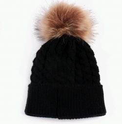 Fur Pom Pom Hat Black Baby