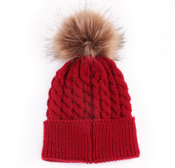 Fur Pom Pom Hat Red Baby