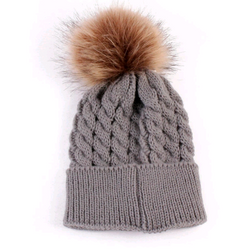 Fur Pom Pom Hat Grey Baby