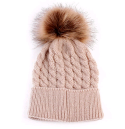 Fur Pom Pom Hat Beige Toddler