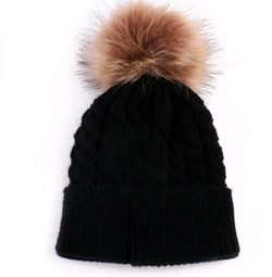 Fur Pom Pom Hat Black Toddler
