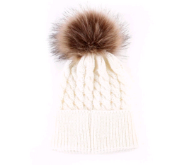 Fur Pom Pom Hat White Toddler