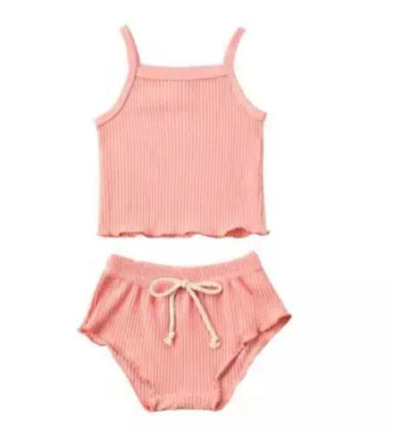 Ribbed Ruffle edge - Pink