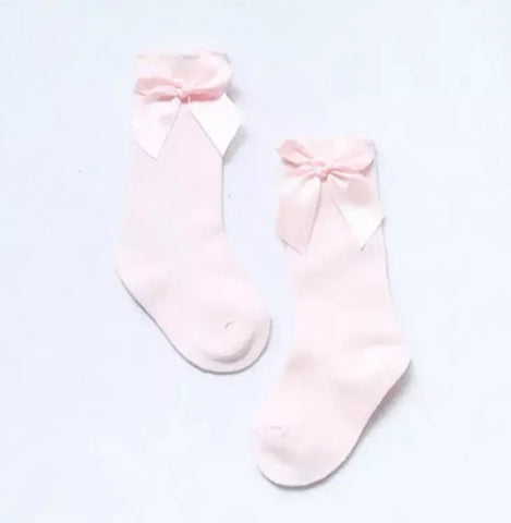 Pink Bow Knee Highs