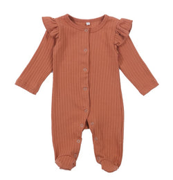 S - Button Muted Ruffle Jumpsuit - Rustic Brown
