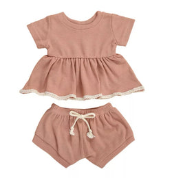 S- Solid Knit Ruffles Blush