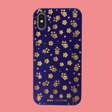 Carved Wood Phone case, Blue Sakura Flowers