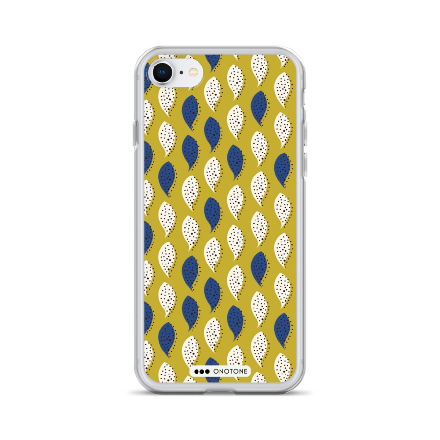 yellow, white, blue pattern iPhone case