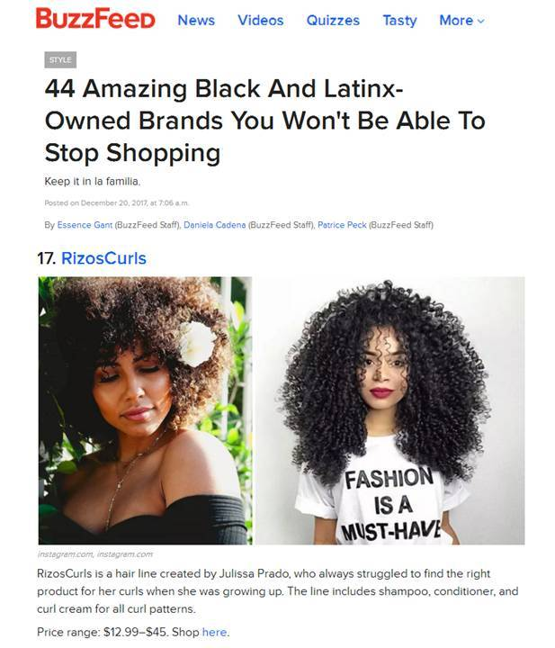 Rizos Curls Featured In Buzzfeed
