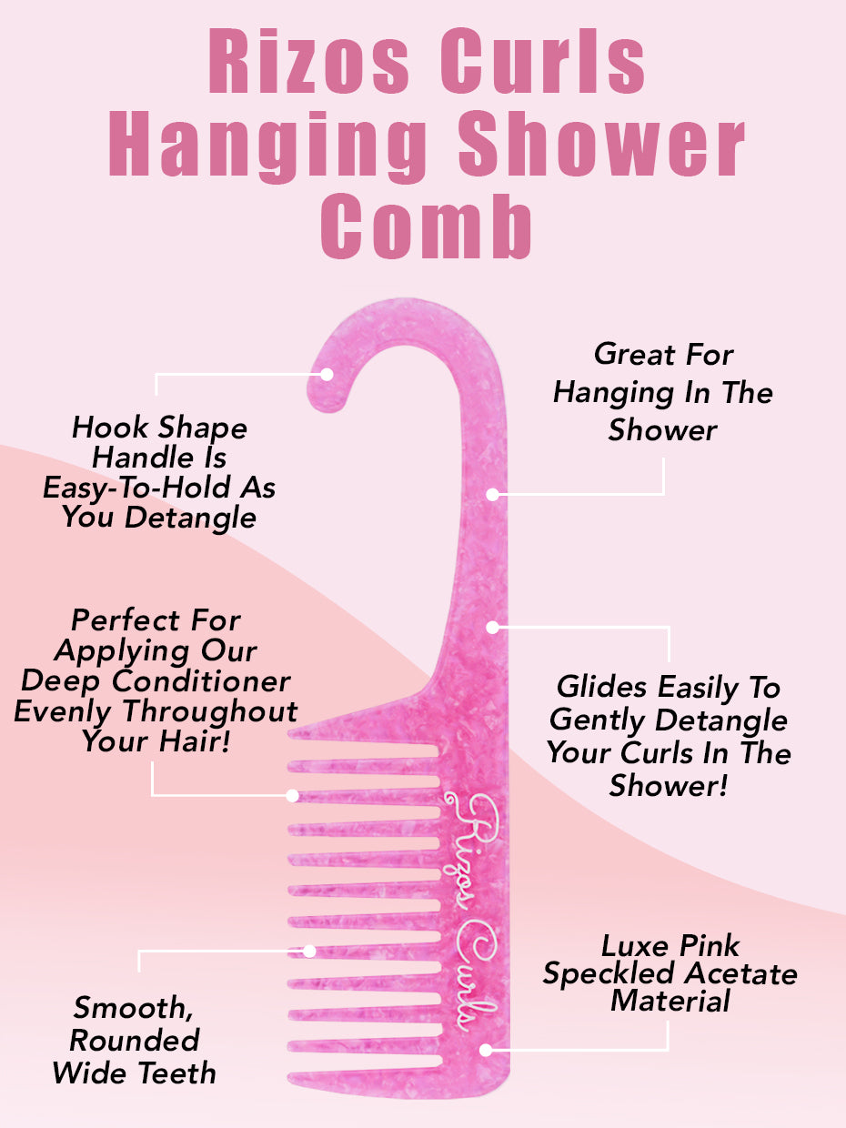 Rizos Curls Pink Hanging Shower Comb